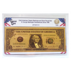 American Classic Gold $1 Banknote and Silver Round Set