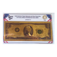 American Classic Gold $2 Banknote and Silver Round Set