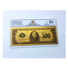 1928 $500 24k Gold Colorized Banknote w .999 Ag Ingot