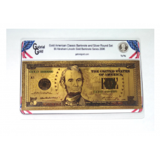 American Classic Gold $5 Banknote and Silver Round Set