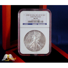 2008 W Silver Eagle Rev of 7 Die Error NGC -MS-70 ER