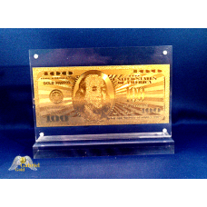 24k Gold $100 American Bank Note in Desktop Frame