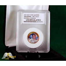 2001 Yogi Berra 24Kt Gold Plated Commemorative Quarter UC