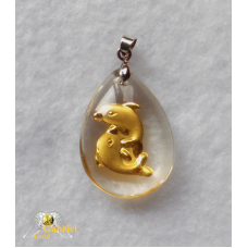 24k Gold Dancing Dolphin Crystal Pendant