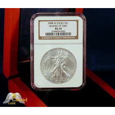 2008 W Silver Eagle Rev of 7 Die Error NGC -MS-70