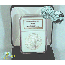 2007 P Jamestown Comm Silver Dollar MS-70