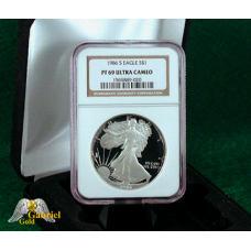 1986 S $1 American Silver Eagle Proof, NGC PF-69