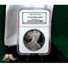 1989 S $1 American Silver Eagle Proof, NGC PF-69