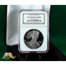 1990 S $1 American Silver Eagle Proof, NGC PF-69