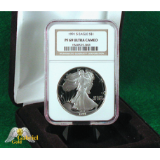 1991 S $1 American Silver Eagle Proof, NGC PF-69