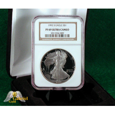 1992 S $1 American Silver Eagle Proof, NGC PF-69