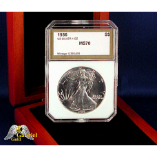 1986 P $1 Silver Eagle PCI MS-70