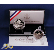 1991-1995 World War II 50th Anni Silver Dollar Proof BU